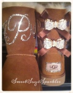 Custom Bling Ugg boots Chestnut Bailey Bow by SweetSuziSparkles Cheap Snow Boots, Ugg Snow Boots, Uggs With Bows, Nike Slippers, Uggs For Cheap, Ugg Classic Mini, Bailey Bow, Cute Boots, Furry Boots