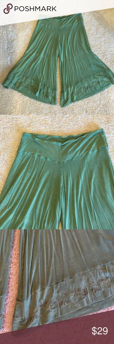 Mint green cropped pants! These are seriously the softest pants I've ever felt!  Made of viscose and Lycra.  Mint green only worn once.  They are XL but could easily fit XXL because of how stretchy they are. Blue Sky Pants Ankle & Cropped