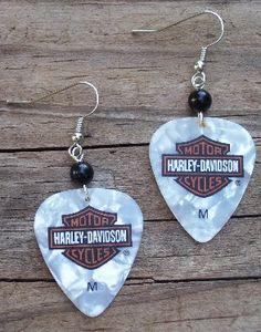 Harley Davidson White Guitar Pick Earrings
