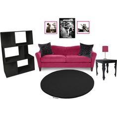 Pink and Black Living Room, created by forrestdn