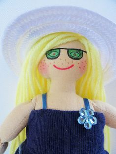 Blonde Doll in Sun Dress  Handmade Cloth Doll by Joelle's Dolls, $30.00