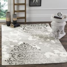 Safavieh Adirondack Vintage Damask Silver/ Ivory Rug (8' x 10') | Overstock.com Shopping - The Best Deals on 7x9 - 10x14 Rugs