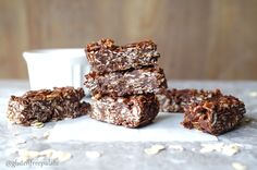 """These no bake Gluten-Free Chocolate Coconut Oat Squares remind me of a candy bar I loved growing up – """"Whatchamacallit bars"""". They are easy to make, chewy, and delightful. Vegan Gluten Free Desserts, Gluten Free Brownies, Gluten Free Treats, Gluten Free Chocolate, No Bake Treats, Gluten Free Baking, Healthy Desserts, Healthy Bars, Healthy Sweet Treats"""