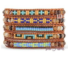 Natural Agates with Seed Beads Woven Wrap by SukiFashionista