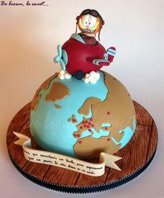 Tarta para un amante de Garfield que se pasa la vida viajando, tanto por trabajo como por placer. #tarta #cake #tartagarfield #garfieldcake #garfield #garfieldaviador #garfieldvolador #fliyinggarfield #tartamundo #tartagloboterraqueo #tartahemisferionorte #worldcake #world #globe #mundo #avion #avionfondant #airplane #oldairplane #biplano #fondantairplane #fondant #handmade #hechoamano