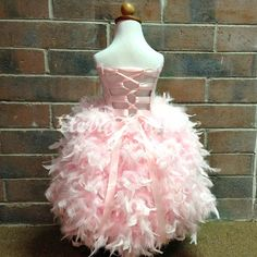 Lace Flower Girl Feather Dress Corset Couture by EterraCouture
