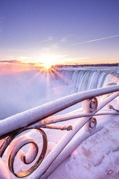Niagara Falls Winter Sunrise, Ontario, Canada would love to see it in the winter. Niagara Falls Winter, Niagara Falls Frozen, Oh The Places You'll Go, Places To Travel, All Nature, Winter Beauty, Winter Scenes, Okinawa, Belle Photo