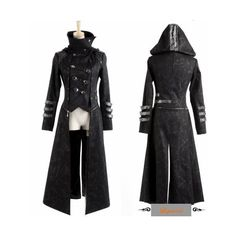 Black gothic cavalry hooded goth style jackets and long coats women men