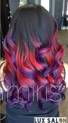 Purple and red dyed hair