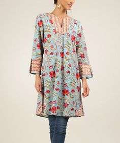 Loving this Blue & Red Floral Stripe Long-Sleeve Notch Neck Tunic on #zulily! #zulilyfinds