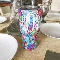 monogrammed Lilly tumbler.