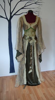 Dark moss green and gold Fairy Elf Fae Renaissance Fantasy costume with corset type belt