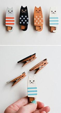 Save time for creative and interesting ideas. Make creative stuff out of wooden pegs. You can make awesome decorations out of wooden pegs or some things Kids Crafts, Cat Crafts, Diy And Crafts, Arts And Crafts, Glue Crafts, Wooden Cat, Wooden Pegs, Diy Projects To Try, Craft Projects