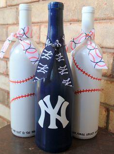 New York Yankees wine bottles, NY Yankees, baseball decor, Yankees gift, Yankees baby This is a set Wine Bottle Glasses, Empty Wine Bottles, Wine Bottle Art, Painted Wine Bottles, Bottles And Jars, Glass Bottles, Liquor Bottles, Mason Jars, Vintage Bottles