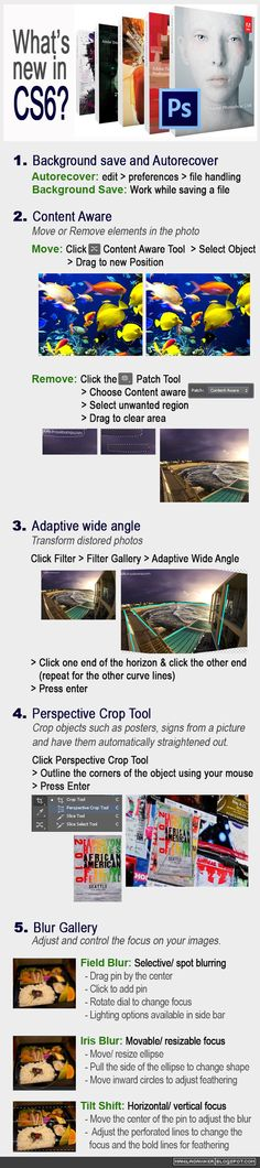 New in Photoshop Autorecover, Content Aware, Adaptive Wide Angle, Perspective Crop Tool, Blur Gallery and more. Crop Tool, Wide Angle, Whats New, Blur, Adobe Photoshop, Infographics, Perspective, How To Remove, Tutorials