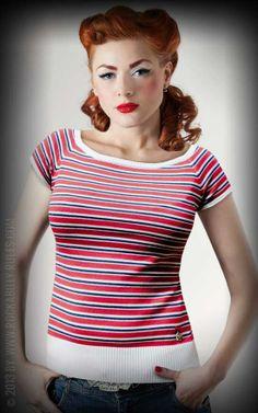 Rumble59 Ladies Pullover - Sunrise - mit Carrée Ausschnitt und Raglanärmeln im klassischen Pin-Up Style - Rockabilly-Rules.com