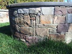 Fire pit veneer, 4 stone mix.  Nantucket