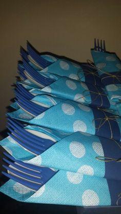 Forks spoon blue azul party servilleta