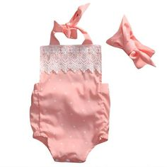 Summer Pink Lace Jumpsuit +Headband. - Tiny Cupids