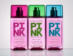Victoria's Secret Body Splash in Fruity & Bright, Soft & Pure and Fresh & Clean. Get them individually or a in a full set. Image from Victoria's Secret.