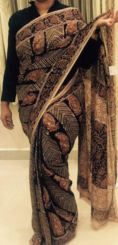 Printed Kalamkari georgette saree http://www.thefirstbazaar.com/product/tfb-kalamkari-georgette-saree-02/ #fashion #India #women #saree #kalamkari #georgette #thefirstbazaar