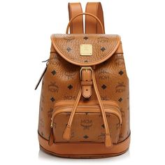 Mcm Heritage Mini Backpack ($865) ❤ liked on Polyvore featuring bags, backpacks, cognac, vintage leather bag, buckle flap backpack, leather knapsack, mcm backpack and flap backpack