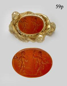 Ancient Roman Agate Intaglio with Carved Gold Satyrs Embracing the Ring at Nelson Rarities, Inc Portland, Maine