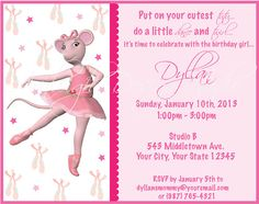 Angelina Ballerina Printable Invitations by AvaleighDesignStudio, $6.00