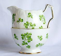 Vintage Aynsley Fine Bone China: Shamrock Sugar and Creamer