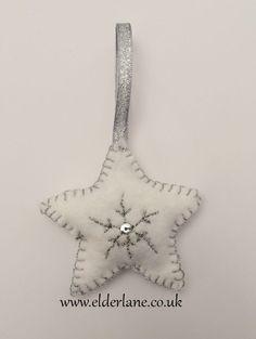Handmade Felt Christmas Tree Decoration Beaded Star Silver Cream