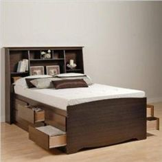storage bed with bookshelf headboard