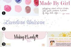 The Big Three, Week Two :: .1. Made By Girl .2. Lovelorn Unicorn .3. Making it Lovely