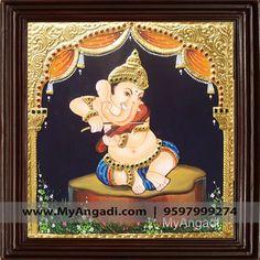 Vinayagar Tanjore Painting Call us or Whatsapp @ 9597999274 #TanjorePainting #Painting #MyAngadi