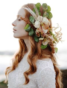 floral elegant orchid hair piece // bohemian wedding hair