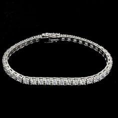 Ladies 925 Sterling Silver 1 Row Prong Set Sim Diamond Tennis Bracelet #OmegaJewellery #Tennis