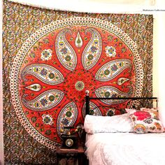 Add a colorful touch to your dorm space or apartment by hanging this Paisley tapestry. This trippy tapestry is Handmade from 100% Cotton. The colors used in this wall hanging or floral Bedspread will match your bedroom decor. Shop this Mandala tapestry at affordable price. Beautiful Hippie wall tapestry wall hangings is one of the gorgeous piece and from latest tapestry Collection for Bohemian and trendy Home