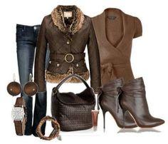 belle en jeans et brun