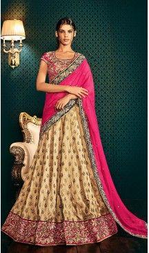 Deep Pink Color Chiffon Lehenga Style Designer Stitched Sari Blouse | FH502176777 #party , #wear, #saree, #saris, #indian, #festive, #fashion, #online, #shopping, #designer, #usa, #henna, #boutique, #heenastyle, #style, #traditional, #wedding, #bridel, #casual, @heenastyle , #blouse, #prestiched, #readymade, #stiched , #lehegasaris, #sari, #saris