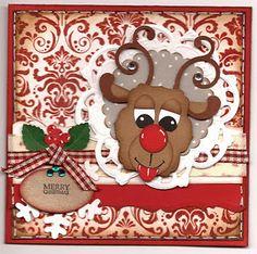 Julekort Rudolf/punch og baggrundsstempel.