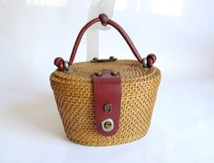 antique purses | Vintage 1960s Aigner Wicker Basket Purse by RaleighVintage on Etsy