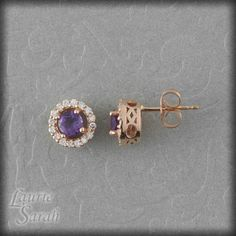 Amethyst Earrings with Diamond Halo - February Birthstone - LS1479. via Etsy.