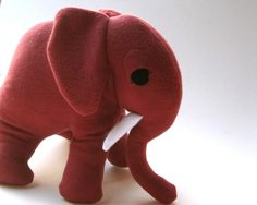 Rosario the Rhubarb Red Organic Toy GIANT Elephant - Stuffed Animal - Plush Eco-Friendly Kids Toy on Etsy, $85.00