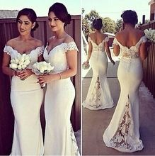 2015 Mermaid Beaded Bridesmaid Dresses Off The Shoulder Vestido Chiffon White Bridal Wedding Party Dress Gowns Vestido De Festa(China (Mainland))