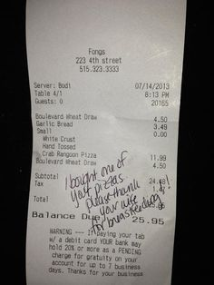 Breastfeeding Note From Pizza Waitress Pays It Forward | Parenting - Yahoo! Shine