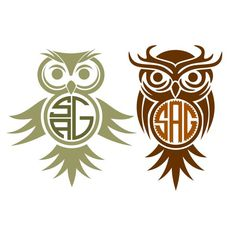 Owl Monogram Cuttable Frame Cut File. Vector, Clipart, Digital Scrapbooking Download, Available in JPEG, PDF, EPS, DXF and SVG. Works with Cricut, Design Space, Cuts A Lot, Make the Cut!, Inkscape, CorelDraw, Adobe Illustrator, Silhouette Cameo, Brother ScanNCut and other software.
