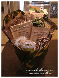 Surviving Stress Gift Basket Complete w/MRE & Camo Neccessities. Exclusively created by Novel Designs Executive Gift Service of Las Vegas specializing in unique, custom designed gift baskets for everyday occasions and #corporate #events.