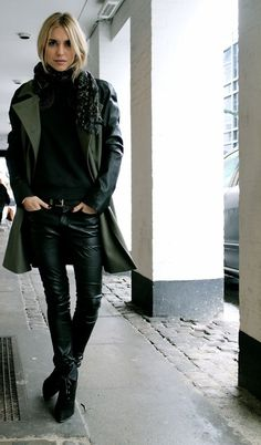 Trench coat and leather