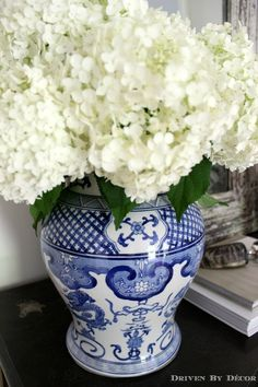 Backyard hydrangeas arranged in thrifted blue and white ginger jar