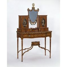 Dressing table, made in London. In Britain, painted satinwood furniture based on styles of the and remained popular until at least the Cabinet makers adapted and changed the designs slightly to satisfy the fashions of the time. Regency Furniture, Georgian Furniture, Antique Furniture, Furniture Styles, Fine Furniture, Painted Furniture, Art Nouveau, Vintage Vanity, Interior Exterior