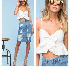 Faldas Jeans-top blanco